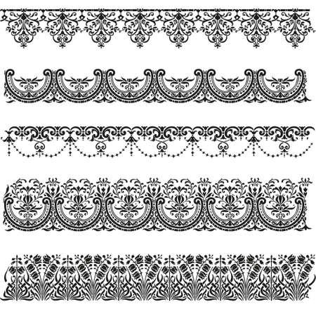 lace pattern: Old border designs vector set Illustration