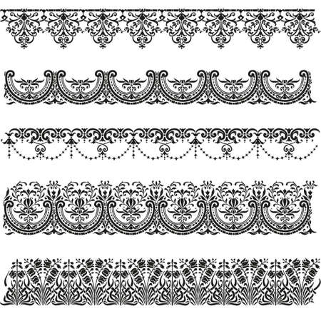 neoclassical: Old border designs vector set Illustration
