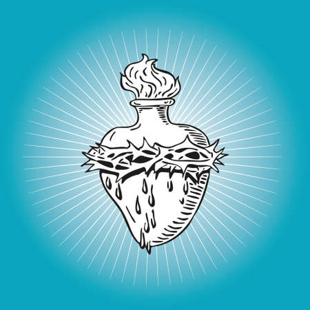 sacred heart: Immaculate Heart of Virgin Mary tattoo illustration Blessed design