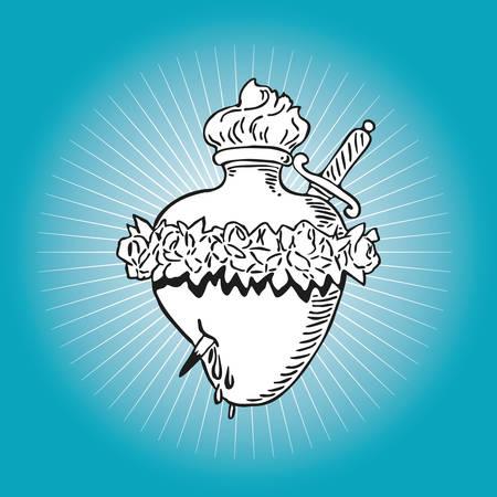 rosas blancas: Corazón Inmaculado de diseño de la ilustración del tatuaje Virgen María Blessed