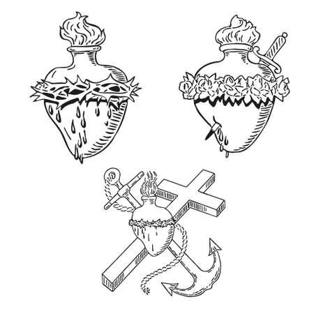 sacre coeur: En Septembre Coeur de la conception Vierge Marie tatouage illustration Heureux