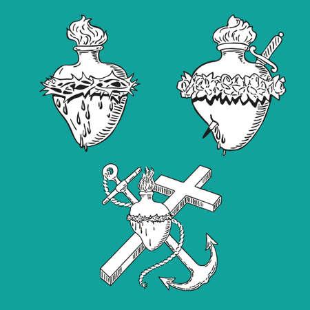 In September Heart of Virgin Mary tattoo illustration Blessed design Vektoros illusztráció