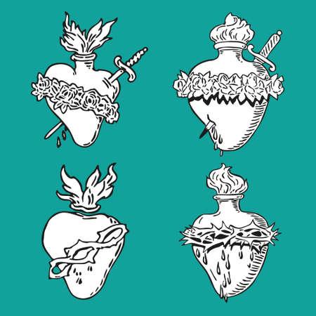 crosscountry: In September Heart of Virgin Mary tattoo illustration Blessed design Illustration