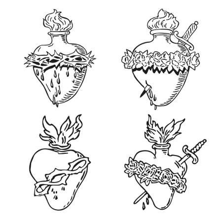 In september Hart van de Maagd Maria tattoo illustratie Gezegend ontwerp Vector Illustratie
