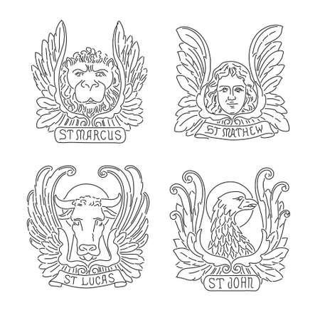 4 つの福音伝道者ライン シンボル: 天使、ライオン、雄牛、ワシ。マシュー、マーク、ルーク、ジョン。