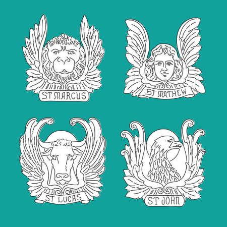 gospels: Four evangelists line symbols: angel, lion, bull and eagle. Matthew, Mark, Luke, John.