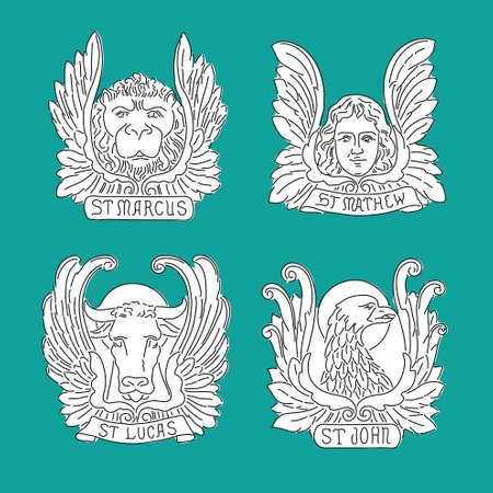 Four evangelists line symbols: angel, lion, bull and eagle. Matthew, Mark, Luke, John.