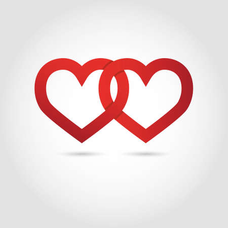 two hearts: Heart vector symbol linked