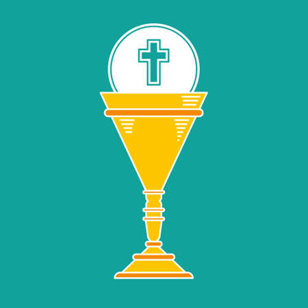 golden religious symbols: first communion chalice cup icon vector graphic
