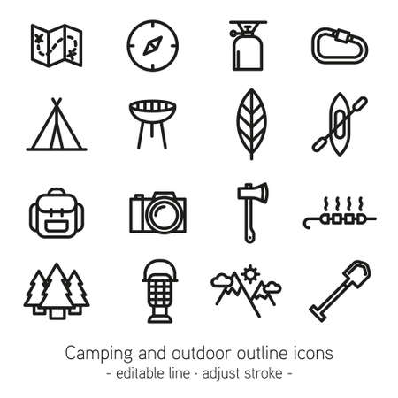adjusting activity: Camping and outdoor outline icons - editable line - adjust stroke -