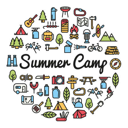 Summer Camp word with icons - vector illustration