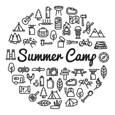 アイコン - ベクトル図とサマー キャンプの単語