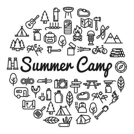 excursions: Summer Camp word with icons - vector illustration