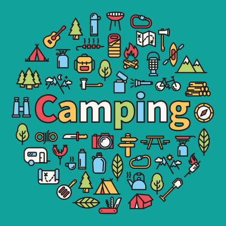 Camping word with icons - vector illustration
