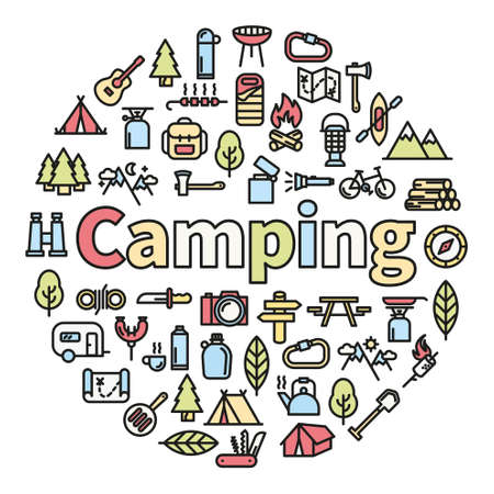 night out: Camping word with icons - vector illustration
