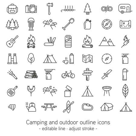 adjusting activity: Camping and outdoor outline icons.