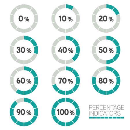 Circular Progress Bar - Ten percentage indicators Vector set