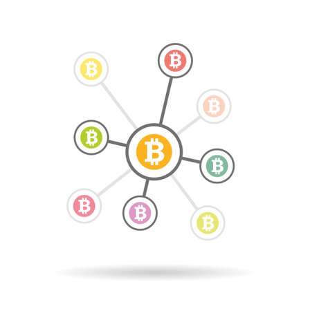 processors: Bitcoin money illustration with circles vector