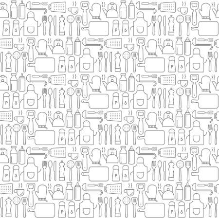 Seamless background pattern of Kitchen Cooking utensil icons