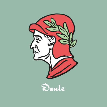 Illustration of Dante Alighieri vector Illustration