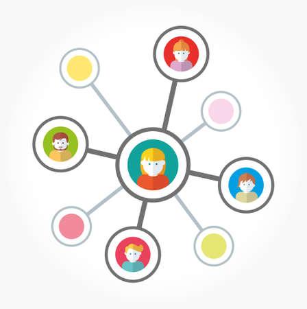 Equipo en redes sociales trabajando ilustración vectorial Foto de archivo - 87209075