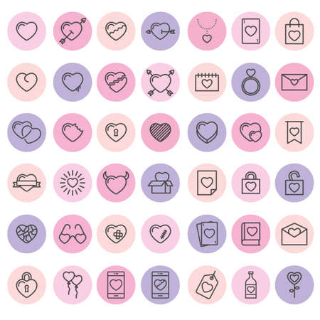 Set of 42 simple icons with heart for Valentines day, web design, sites, applications, games, stickers…