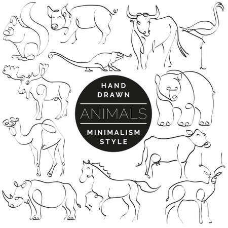 Set of animals in hand drawn minimalism style. Continuous line drawing vector illustration. 版權商用圖片 - 88111401