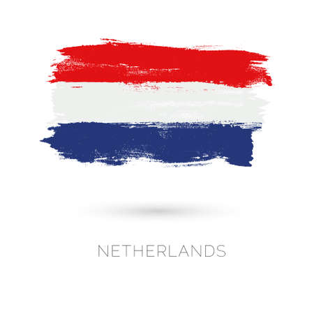 Netherlands colorful brush strokes painted national country flag icon. Painted texture. Vectores