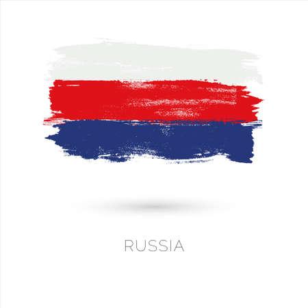 Los trazos de pincel colorido de Rusia pintaron el icono de la bandera nacional del país. Textura pintada