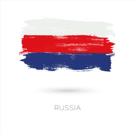 Russia colorful brush strokes painted national country flag icon. Painted texture. Illustration