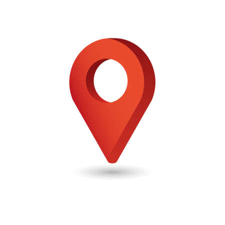 Map Pointer symbol. Flat Isometric Icon or Logo. 3D Style Pictogram for Web Design, UI, Mobile App, Infographic.  イラスト・ベクター素材