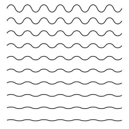 Set golvende horizontale lijnen; Vector ontwerpelement. Stock Illustratie