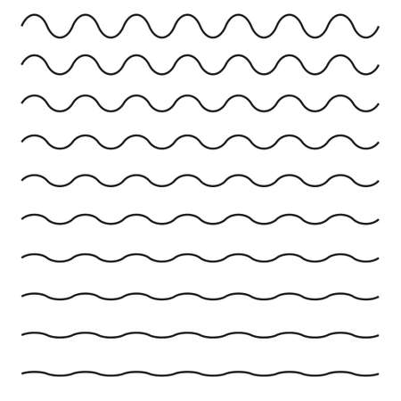 Set of wavy horizontal lines; Vector design element.