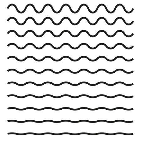 Set of wavy horizontal lines icon.