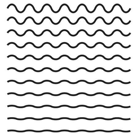 Set van golvende horizontale lijnen pictogram.