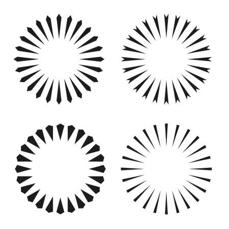 Rays, beams element. Sunburst, starburst shape on white. Radiating, radial, merging lines. Abstract circular geometric shape. Vector set collection.