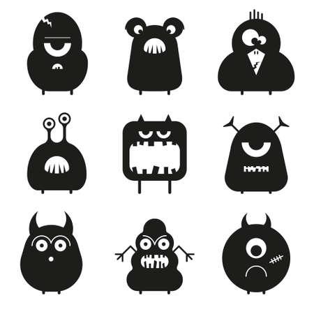 Vector set cartoon schattige grappige monsters geïsoleerd op wit. Silhouettes