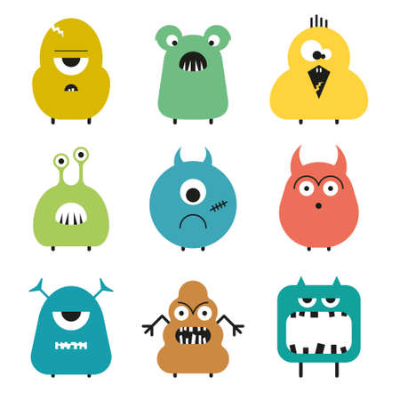 Vector set of cartoon cute funny Colorful monsters