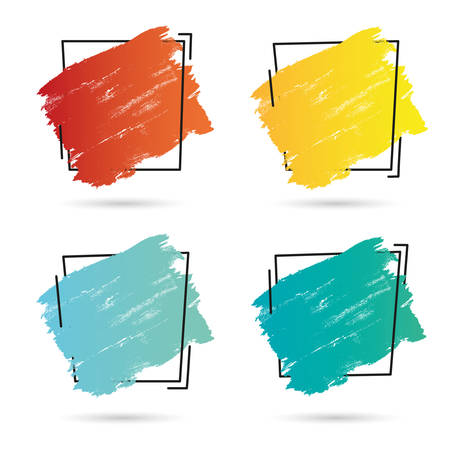 Set grunge brush paint texture design acrylic stroke poster over square frame vector. Perfect design for headline, icon and banner. Vectores