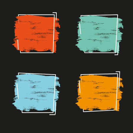 Set grunge brush paint texture design acrylic stroke poster over square frame vector. Perfect design for headline, icon and banner. 矢量图像
