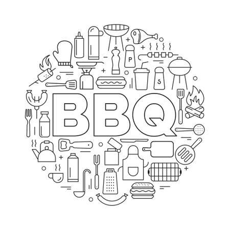 Barbecue icons in circle. Icon line style. Vector poster of bbq preparing process on grill, hotdog and hamburger with fork and kitchen scoop, meat with kitchen utensils.