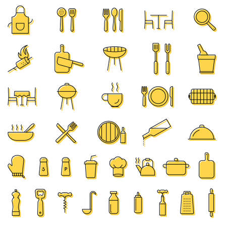 Restaurant, barbecue, cooking, serving, kitchen, cutlery, tools line black icons. Collection of outline icons