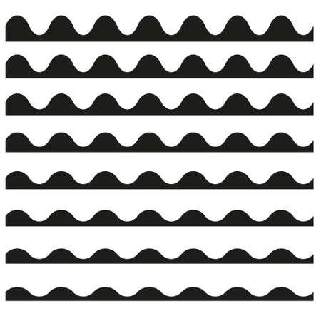 Set of wavy horizontal lines vector design element. Illustration