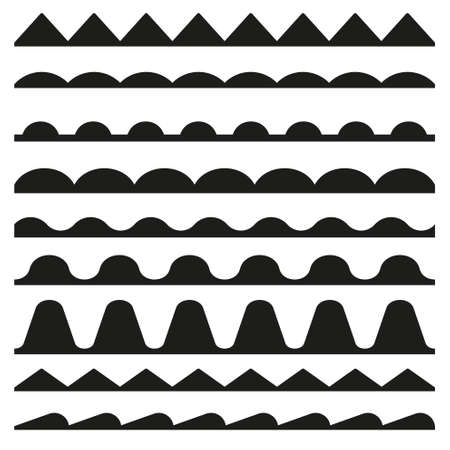 Set of seamless zigzag and wave borders. Vector design elements