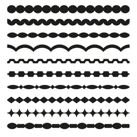 Set of vector borders art dividers in geometrical style. Borders for the text, invitation cards, various printing editions. Seamless horizontal patterns.