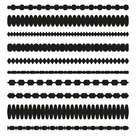 Set of vector borders art dividers in geometrical style. Borders for the text, invitation cards, various printing editions. Seamless horizontal patterns. Standard-Bild - 95811427