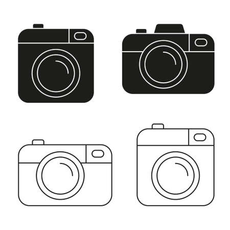 Camera vector icon minimalistic flat design.
