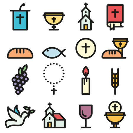 Church and Christian community flat outline icons, communion vector set.