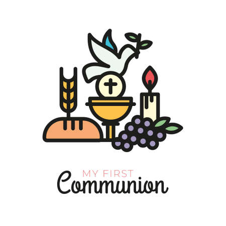 First communion symbols for a nice invitation design. Church and Christian Community Flat Outline Icons.