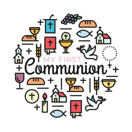 Símbolos de primera comunión para un bonito diseño de invitación. Iglesia y comunidad cristiana iconos de contorno plano.